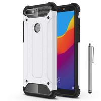 """Huawei Y7 Pro (2018) 5.99"""": Coque Antichoc Rugged Armor Neo Hybrid carbone + Stylet - ARGENT"""