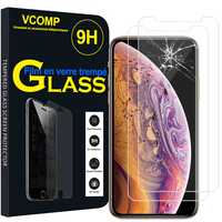 "Apple iPhone XS (2018) 5.8"" (non compatible iPhone XS Max 6.5""): Lot / Pack de 2 Films de protection d'écran Verre Trempé"