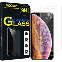 "Apple iPhone XS (2018) 5.8"" (non compatible iPhone XS Max 6.5""): Lot / Pack de 3 Films de protection d'écran Verre Trempé"
