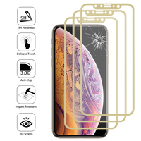 "Apple iPhone XS (2018) 5.8"" (non compatible iPhone XS Max 6.5""): Lot/ Pack de 3 Films en Verre Trempé Bord Incurvé Resistant"