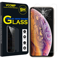 "Apple iPhone XS Max (2018) 6.5"" A1921 A2104 (non compatible iPhone XS 5.8""): 1 Film de protection d'écran Verre Trempé"