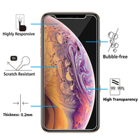 "Apple iPhone XS Max (2018) 6.5"" A1921 A2104 (non compatible iPhone XS 5.8""): Lot / Pack de 2 Films de protection d'écran Verre Trempé"