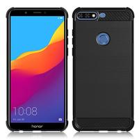 "Huawei Honor 7C (2018) 5.99""/ Huawei Enjoy 8: Coque Housse Silicone Souple en Fibre de Carbone Brossé motif TPU Case - NOIR"