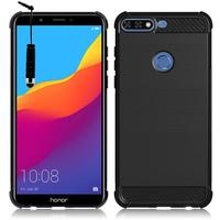 """Huawei Honor 7C (2018) 5.99""""/ Huawei Enjoy 8: Coque Housse Silicone Souple en Fibre de Carbone Brossé motif TPU Case + mini Stylet - NOIR"""