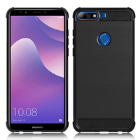 """Huawei Y7 (2018) 5.99"""" (non compatible Huawei Y7 5.5"""" 2017): Coque Housse Silicone Souple en Fibre de Carbone Brossé motif TPU Case - NOIR"""