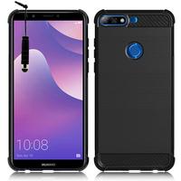 """Huawei Y7 (2018) 5.99"""" (non compatible Huawei Y7 5.5"""" 2017): Coque Housse Silicone Souple en Fibre de Carbone Brossé motif TPU Case + mini Stylet - NOIR"""