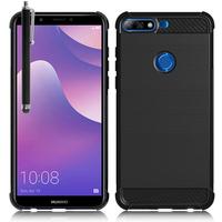 """Huawei Y7 (2018) 5.99"""" (non compatible Huawei Y7 5.5"""" 2017): Coque Housse Silicone Souple en Fibre de Carbone Brossé motif TPU Case + Stylet - NOIR"""