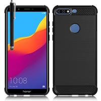 """Huawei Y7 Pro (2018) 5.99"""": Coque Housse Silicone Souple en Fibre de Carbone Brossé motif TPU Case + Stylet - NOIR"""