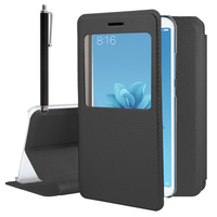 "Xiaomi Mi A2/ Mi 6X 5.99"": Etui View Case Flip Folio Leather cover + Stylet - NOIR"