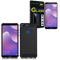 """Huawei Y7 Prime (2018) 5.99""""/ Nova 2 Lite: Coque Housse Silicone Souple en Fibre de Carbone Brossé motif TPU Case - NOIR + 1 Film de protection d'écran Verre Trempé"""