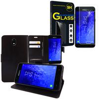 """Samsung Galaxy J7 (2018) 5.5"""": Etui Coque Housse Pochette Accessoires portefeuille support video cuir PU - NOIR + 1 Film de protection d'écran Verre Trempé"""