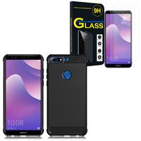 """Huawei Y7 Prime (2018) 5.99""""/ Nova 2 Lite: Coque Housse Silicone Souple en Fibre de Carbone Brossé motif TPU Case - NOIR + 2 Films de protection d'écran Verre Trempé"""