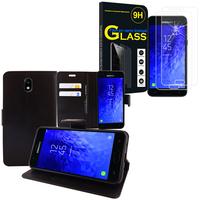 """Samsung Galaxy J7 (2018) 5.5"""" (non compatible Galaxy J7 Version 2015/ 2016/ 2017): Etui Coque Housse Pochette Accessoires portefeuille support video cuir PU - NOIR + 2 Films d'écran Verre Trempé"""
