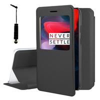 """OnePlus 6 6.28"""": Etui View Case Flip Folio Leather cover + mini Stylet - NOIR"""
