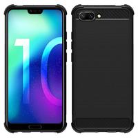 """Huawei Honor 10/ Honor 10 GT 5.84"""" (non compatible Huawei Honor View 10 5.99""""): Coque Housse Silicone Souple en Fibre de Carbone Brossé motif TPU Case - NOIR"""