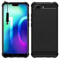"""Huawei Honor 10/ Honor 10 GT 5.84"""" (non compatible Huawei Honor View 10 5.99""""): Coque Housse Silicone Souple en Fibre de Carbone Brossé motif TPU Case + mini Stylet - NOIR"""