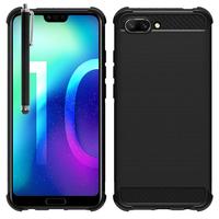 """Huawei Honor 10/ Honor 10 GT 5.84"""" (non compatible Huawei Honor View 10 5.99""""): Coque Housse Silicone Souple en Fibre de Carbone Brossé motif TPU Case + Stylet - NOIR"""