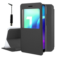 """Huawei Honor 10/ Honor 10 GT 5.84"""" (non compatible Huawei Honor View 10 5.99""""): Etui View Case Flip Folio Leather cover + mini Stylet - NOIR"""