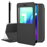 """Huawei Honor 10/ Honor 10 GT 5.84"""" (non compatible Huawei Honor View 10 5.99""""): Etui View Case Flip Folio Leather cover + Stylet - NOIR"""