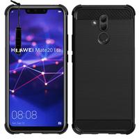 """Huawei Mate 20 Lite 6.3""""/ Maimang 7/ SNE-AL00/ SNE-LX1: Coque Housse Silicone Souple en Fibre de Carbone Brossé motif TPU Case + mini Stylet - NOIR"""