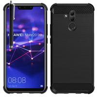 """Huawei Mate 20 Lite 6.3""""/ Maimang 7/ SNE-AL00/ SNE-LX1: Coque Housse Silicone Souple en Fibre de Carbone Brossé motif TPU Case + Stylet - NOIR"""