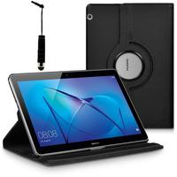 """Huawei MediaPad T3 10 (9.6"""") AGS-L09/ AGS-W09/ AGS-L03: Accessoire Etui Housse Coque avec support Et Rotative Rotation 360° en cuir PU + mini Stylet - NOIR"""