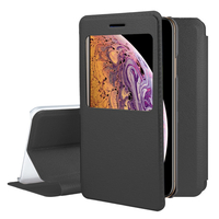 "Apple iPhone XS Max (2018) 6.5"" A1921 A2104 (non compatible iPhone XS 5.8""): Etui View Case Flip Folio Leather cover - NOIR"