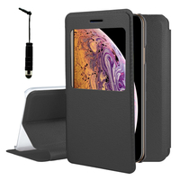 "Apple iPhone XS Max (2018) 6.5"" A1921 A2104 (non compatible iPhone XS 5.8""): Etui View Case Flip Folio Leather cover + mini Stylet - NOIR"