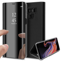 "Samsung Galaxy Note 9 6.4""/ Note9 Duos SM-N960F/ SM-N960U/ SM-N960F/DS [Les Dimensions EXACTES du telephone: 161.9 x 76.4 x 8.8 mm]: Clear View Housse Etui Flip Folio Support Vidéo Effet Mirroir - NOIR"