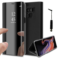 "Samsung Galaxy Note 9 6.4""/ Note9 Duos SM-N960F/ SM-N960U/ SM-N960F/DS [Les Dimensions EXACTES du telephone: 161.9 x 76.4 x 8.8 mm]: Clear View Housse Etui Flip Folio Support Vidéo Effet Mirroir + mini Stylet - NOIR"