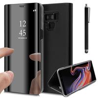 "Samsung Galaxy Note 9 6.4""/ Note9 Duos SM-N960F/ SM-N960U/ SM-N960F/DS [Les Dimensions EXACTES du telephone: 161.9 x 76.4 x 8.8 mm]: Clear View Housse Etui Flip Folio Support Vidéo Effet Mirroir + Stylet - NOIR"