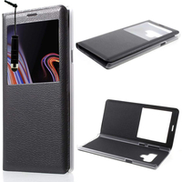 "Samsung Galaxy Note 9 6.4""/ Note9 Duos SM-N960F/ SM-N960U/ SM-N960F/DS [Les Dimensions EXACTES du telephone: 161.9 x 76.4 x 8.8 mm]: Etui View Case Flip Folio Leather cover + mini Stylet - NOIR"