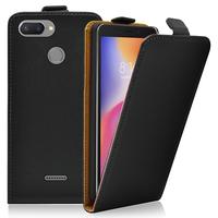 """Xiaomi Redmi 6 5.45"""": Accessoire Housse Coque Pochette Etui protection vrai cuir à rabat vertical - NOIR"""