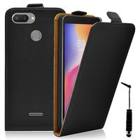 """Xiaomi Redmi 6 5.45"""": Accessoire Housse Coque Pochette Etui protection vrai cuir à rabat vertical + mini Stylet - NOIR"""