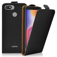 """Xiaomi Redmi 6A 5.45"""": Accessoire Housse Coque Pochette Etui protection vrai cuir à rabat vertical - NOIR"""