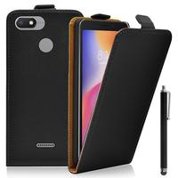 """Xiaomi Redmi 6A 5.45"""": Accessoire Housse Coque Pochette Etui protection vrai cuir à rabat vertical + Stylet - NOIR"""