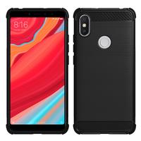 """Xiaomi Redmi S2 5.99"""": Coque Housse Silicone Souple en Fibre de Carbone Brossé motif TPU Case - NOIR"""