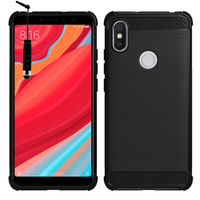 """Xiaomi Redmi S2 5.99"""": Coque Housse Silicone Souple en Fibre de Carbone Brossé motif TPU Case + mini Stylet - NOIR"""