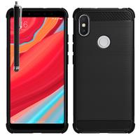 """Xiaomi Redmi S2 5.99"""": Coque Housse Silicone Souple en Fibre de Carbone Brossé motif TPU Case + Stylet - NOIR"""
