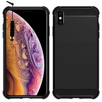 """Apple iPhone XS Max (2018) 6.5"""" A1921 A2104 (non compatible iPhone XS 5.8""""): Coque Housse Silicone Souple en Fibre de Carbone Brossé motif TPU Case + mini Stylet - NOIR"""