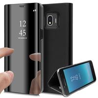 "Samsung Galaxy J2 Pro (2018) SM-J250F/ Galaxy Grand Prime Pro (2018) 5.0"": Clear View Housse Etui Flip Folio Support Vidéo Effet Mirroir - NOIR"