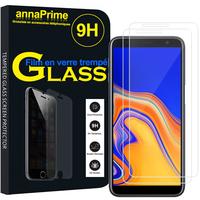 """Samsung Galaxy J6+/ J6 Plus (2018) 6.0"""" (non compatible Galaxy J6 (2018) 5.6"""") [Les Dimensions EXACTES du telephone: 161.4 x 76.9 x 7.9 mm]: Lot / Pack de 2 Films de protection d'écran Verre Trempé"""