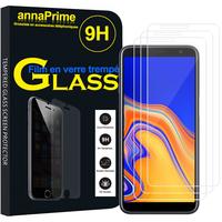 """Samsung Galaxy J6+/ J6 Plus (2018) 6.0"""" (non compatible Galaxy J6 (2018) 5.6"""") [Les Dimensions EXACTES du telephone: 161.4 x 76.9 x 7.9 mm]: Lot / Pack de 3 Films de protection d'écran Verre Trempé"""