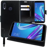 """Asus Zenfone Max Pro (M1) ZB601KL/ ZB602KL 5.99"""" (non compatible Zenfone Max Plus (M1) ZB570TL/ Zenfone Max (M1) ZB555KL/ ZB556KL): Accessoire Etui portefeuille Livre Housse Coque Pochette support vidéo cuir PU + mini Stylet - NOIR"""