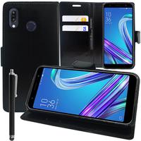 """Asus Zenfone Max Pro (M1) ZB601KL/ ZB602KL 5.99"""" (non compatible Zenfone Max Plus (M1) ZB570TL/ Zenfone Max (M1) ZB555KL/ ZB556KL): Accessoire Etui portefeuille Livre Housse Coque Pochette support vidéo cuir PU + Stylet - NOIR"""