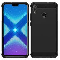 """Huawei Honor 8X 6.5"""" (non compatible Honor 8X Max 7.12"""") [Les Dimensions EXACTES du telephone: 160.4 x 76.6 x 7.8 mm]: Coque Housse Silicone Souple en Fibre de Carbone Brossé motif TPU Case - NOIR"""