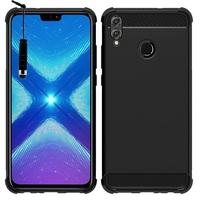"""Huawei Honor 8X 6.5"""" (non compatible Honor 8X Max 7.12"""") [Les Dimensions EXACTES du telephone: 160.4 x 76.6 x 7.8 mm]: Coque Housse Silicone Souple en Fibre de Carbone Brossé motif TPU Case + mini Stylet - NOIR"""