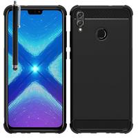 """Huawei Honor 8X 6.5"""" (non compatible Honor 8X Max 7.12"""") [Les Dimensions EXACTES du telephone: 160.4 x 76.6 x 7.8 mm]: Coque Housse Silicone Souple en Fibre de Carbone Brossé motif TPU Case + Stylet - NOIR"""