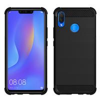 """Huawei P Smart+/ P Smart Plus/ Nova 3i 6.3"""" INE-LX1/ LX2/ L21 (non compatible Huawei P smart 5.65""""/ Nova 5.0""""/ Nova 3): Coque Housse Silicone Souple en Fibre de Carbone Brossé motif TPU Case - NOIR"""