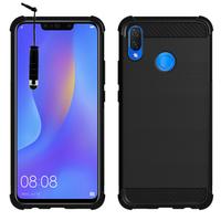 """Huawei P Smart+/ P Smart Plus/ Nova 3i 6.3"""" INE-LX1/ LX2/ L21 (non compatible Huawei P smart 5.65""""/ Nova 5.0""""/ Nova 3): Coque Housse Silicone Souple en Fibre de Carbone Brossé motif TPU Case + mini Stylet - NOIR"""